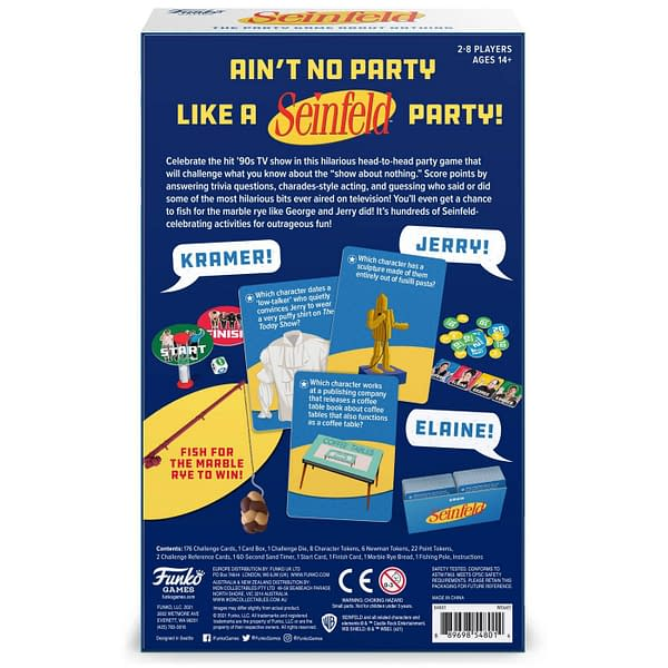 The back cover of the box for Seinfeld: The Party Game About Nothing by Funko Games.