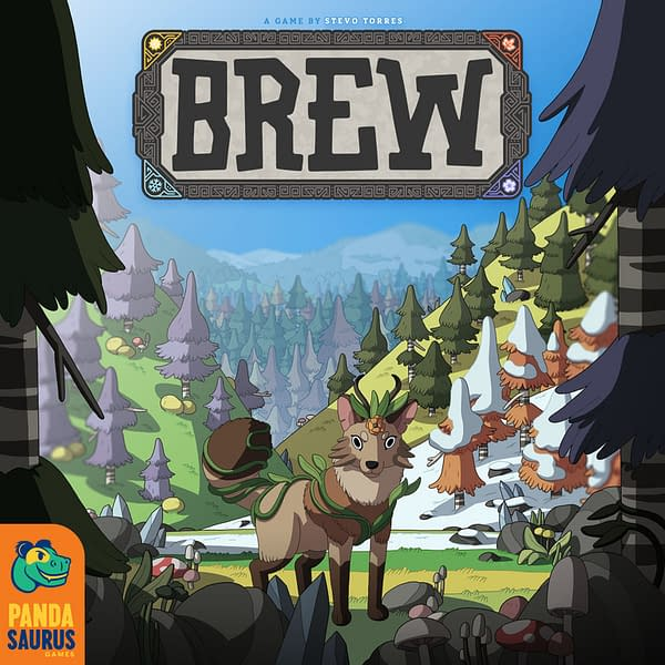 The breathtaking art from the box of Brew, a game by Pandsaurus Games that is now accepting preorders.