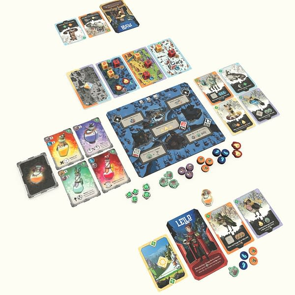 An array of gameplay components for Pandasaurus Games' upcoming board game, Brew.