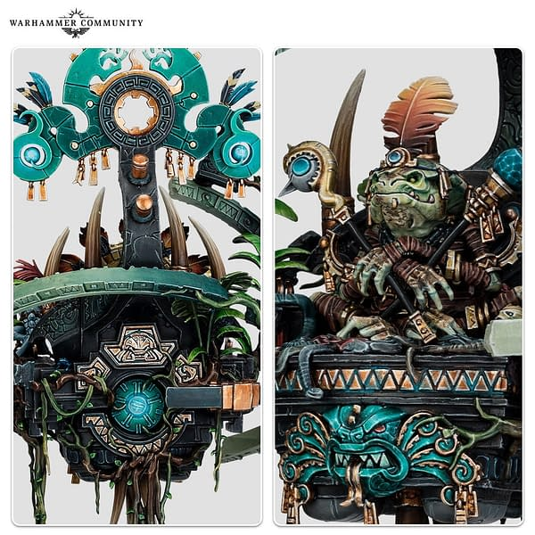 Some close details of the miniature for Lord Skroak from Warhammer: Age of Sigmar's Broken Realms saga. Photo credit: Games Workshop, via the Warhammer Community