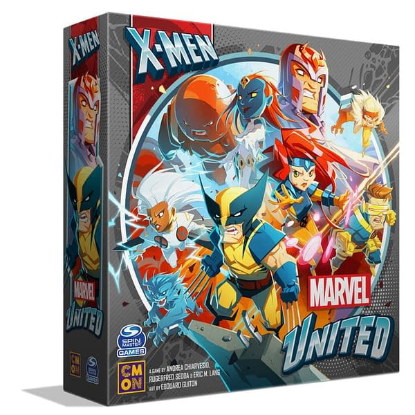 The box for Marvel United: X-Men, a new incoming game by CMON that is being crowdfunded right now on Kickstarter.