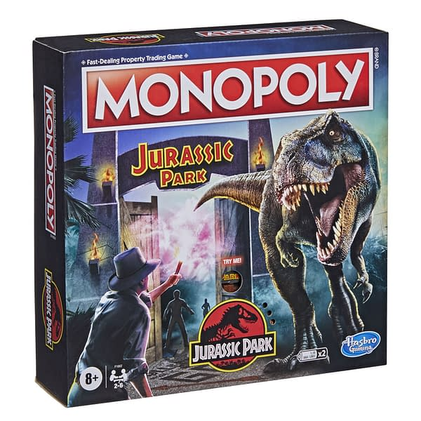 A look at the box art for Monopoly Jurassic Park, courtesy of Hasbro.