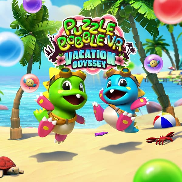 Your favorite Bubble Bobble characters solving puzzles in VR? Of course, it's a vacation! Courtesy of TAITO.