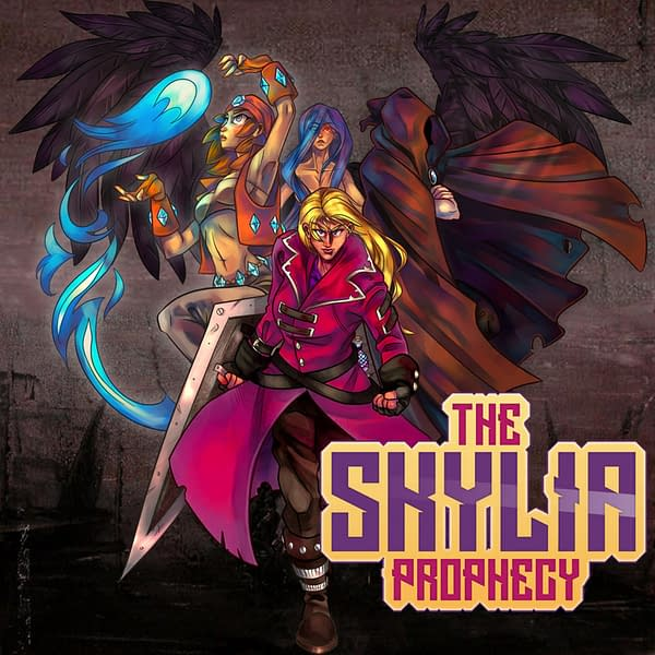 Key art promoting The Skylia Prophecy, a new RPG sidescroller by the indie game developer 7 Raven Games.