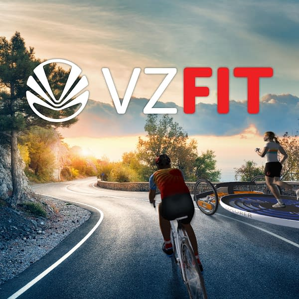 Promotional key art for VZFit, a new virtual reality interface for the Oculus Quest 1 and 2.