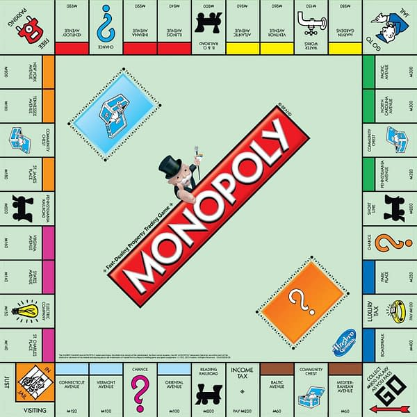 The classic board for Hasbro's board game of real estate and property ownership, Monopoly.