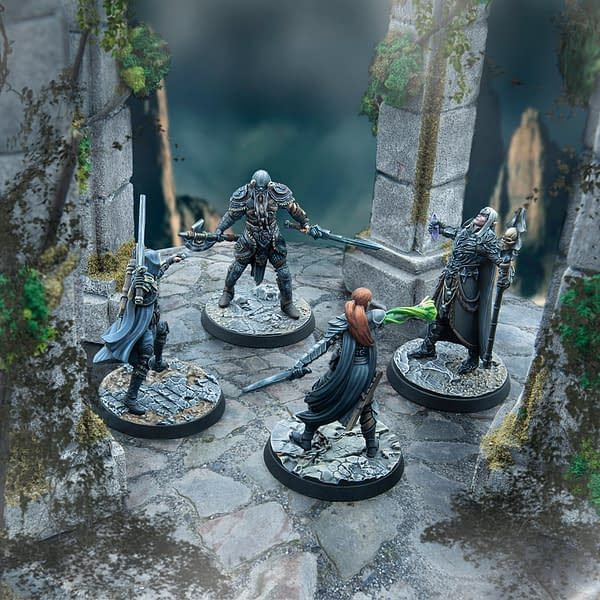 Four fully-painted miniatures showcasing The Elder Scrolls Online Cinematic Heroes collection by Modiphus, for use with The Elder Scrolls: Call To Arms!