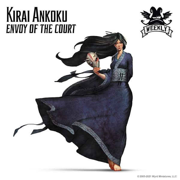 The full art for Kirai Ankoku, Envoy of the Court, the alternate-titled Master for Wyrd Miniatures' wargames Malifaux and The Other Side.