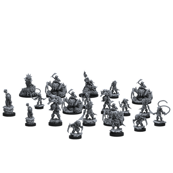 An array of miniature components in Epic Encounters: Labyrinth of the Goblin Tsar from Steamforged Games.