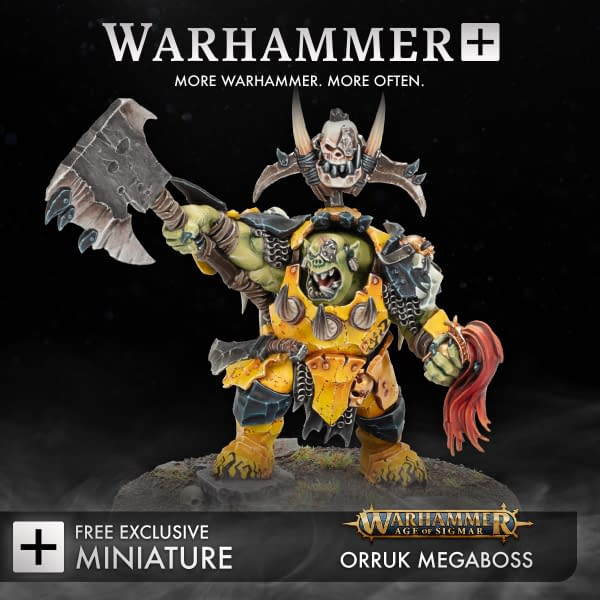 A Warhammer+ exclusive Orruk Megaboss miniature from Age of Sigmar, one of the first subscription perk minis offered with the paid service by Games Workshop.