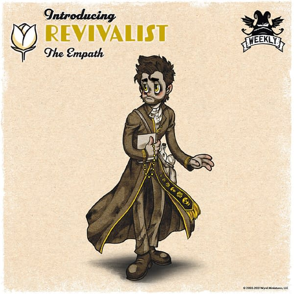 The Max Fleischer-esque art for Vagrantsong is amazing to behold. Pictured here is the Revivalist, a character from the upcoming board game. Image attributed to Wyrd Games.