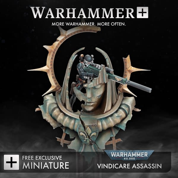 The other Warhammer+ exclusive Vindicare Assassin miniature from Warhammer 40,000, one of the first subscription perk minis offered with the paid service by Games Workshop.