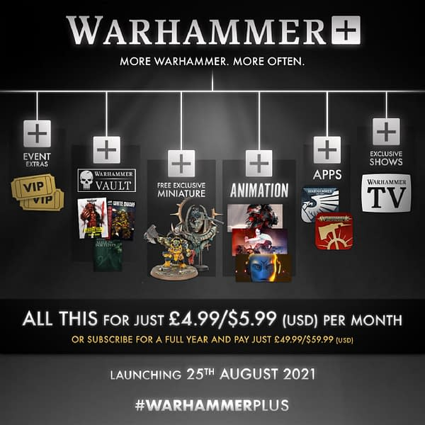 An infographic displaying the many things you could get by subscribing to Games Workshop's new paid service, Warhammer+.