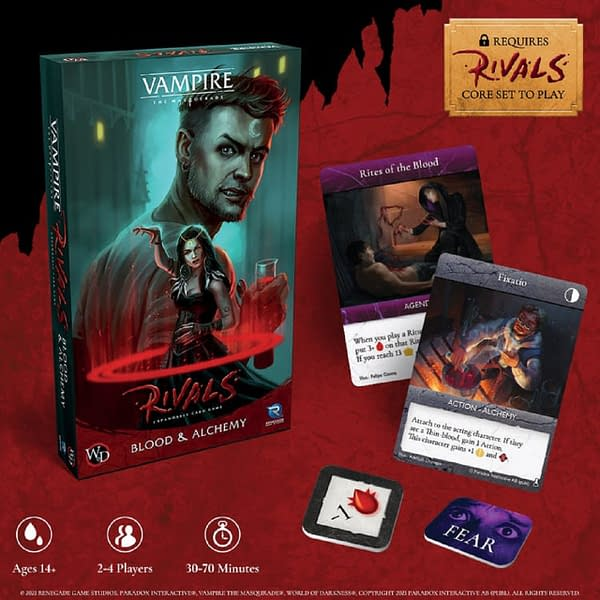 Promotional art for Blood & Alchemy, the first expansion set for Renegade Game Studios' expandable card game, Vampire: The Masquerade Rivals.