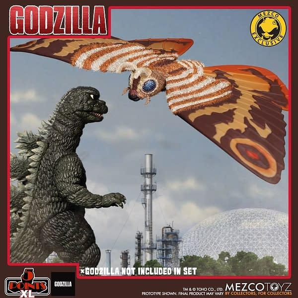 Mothra Has Been Summon As Mezco Toyz Newest 5 Points XL Figure Set