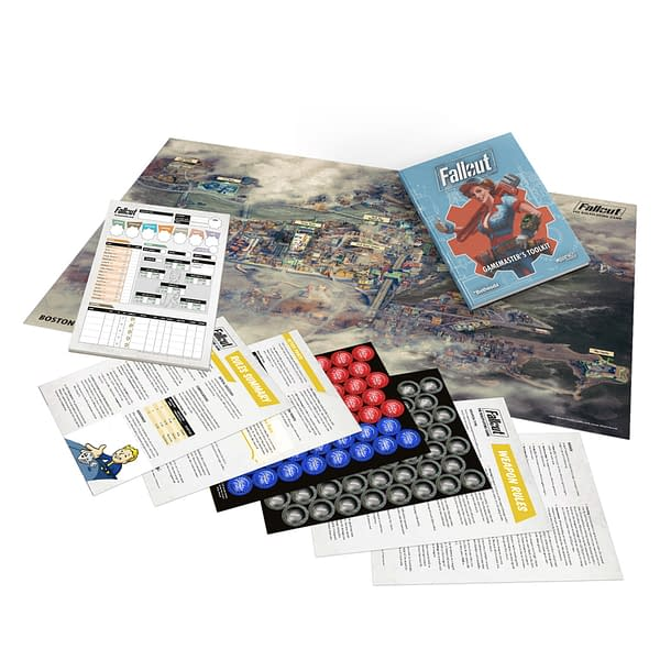 An array of components from the Game Master's Toolkit of Fallout: The Roleplaying Game, by Modiphius Entertainment.