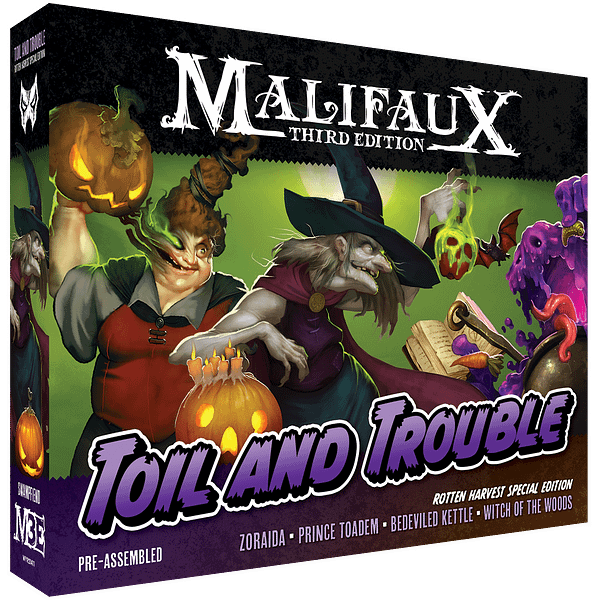The front of the box for Toil And Trouble, the Rotten Harvest limited-edition sculpts for Zoraida, a Neverborn/Bayou Master from Wyrd Games' tabletop wargame, Malifaux.