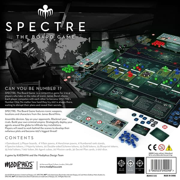 The back of the box for SPECTRE: The Board Game, a tabletop game by Modiphius Entertainment.