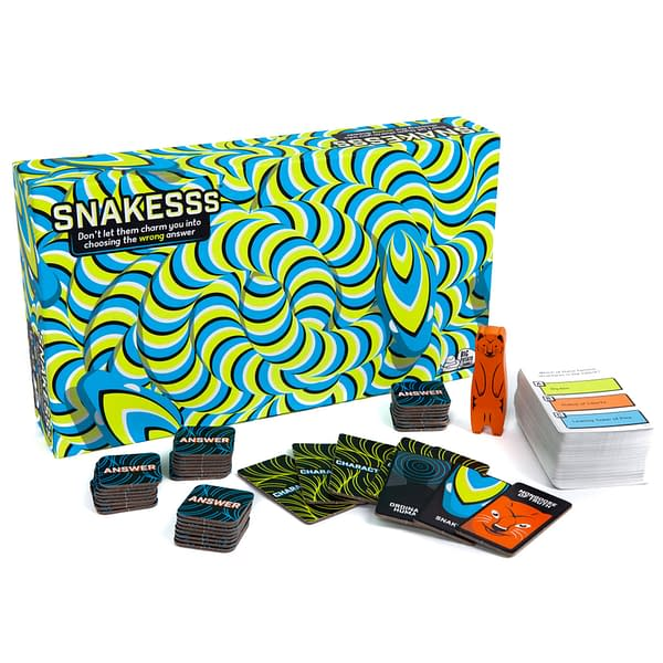An array of the contents of Snakesss, a social deduction trivia game by Big Potato Games.