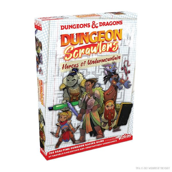 An angled shot of the front of the box for Dungeons & Dragons: Dungeon Scrawlers: Heroes of Undermountain, a WizKids game created by Wizards of the Coast.
