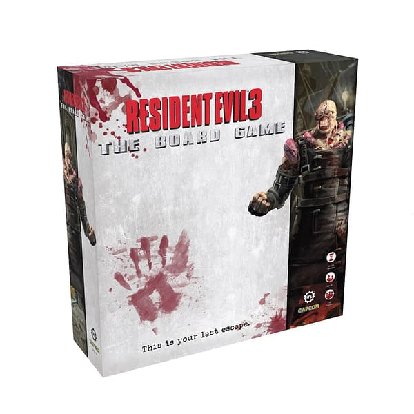 The front of the core box for Resident Evil 3: The Board Game, a tabletop game by Steamforged Games based on the Capcom video game of the same name.