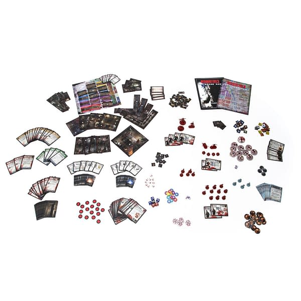 An array of components from Resident Evil 3: The Board Game's core game, by Steamforged Games.