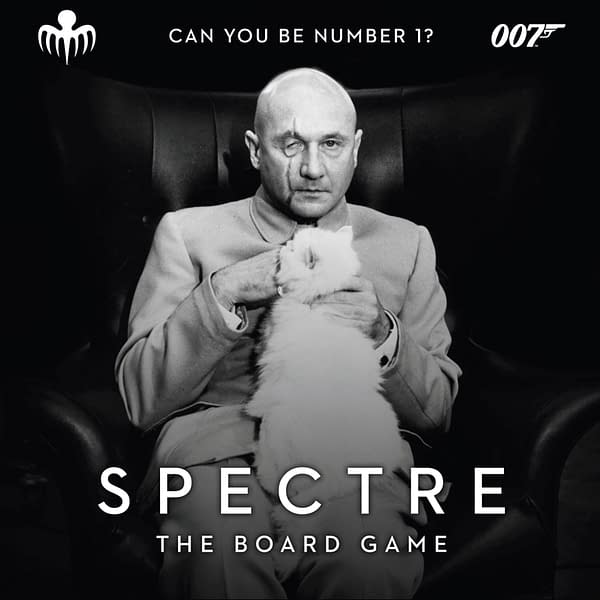 The eerie key art for SPECTRE: The Board Game, a game by Modiphius Entertainment where you play as an enemy of James Bond.