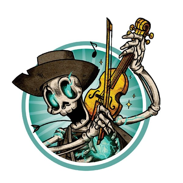 A pin that comes as one of the preorder bonuses for ordering Vagrantsong early or at GenCon 2021. It depicts a Skelly Man from the spooky Americana-inspired board game. Image attributed to Wyrd Games.