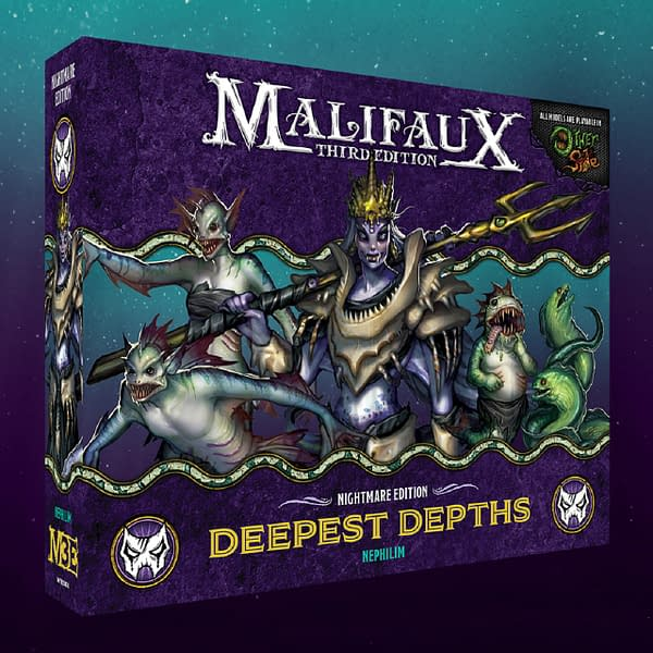 An angled shot of the Nightmare Edition box for Deepest Depths, a set containing Neverborn Master character Nekima and her Nephilim in Malifaux, and various models from the Gibbering Hordes faction in The Other Side. Image attributed to Wyrd Games.