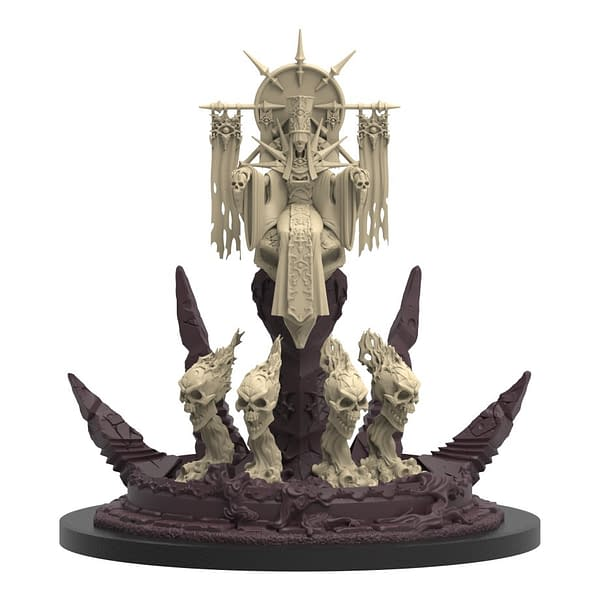 An unpainted digital render of the Lich Empress, the boss of this series that comes in the Tower of the Lich Empress box for Epic Encounters by Steamforged Games.