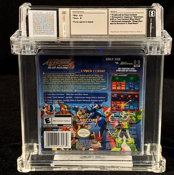The rear face of the copy of Mega Man Battle Network 4: Blue Moon, up for auction at Comics Connect.