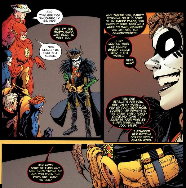 The Robin King and What He Has to Say to Wally West in Death Metal #3