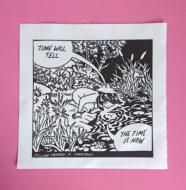 'Time will tell' fabric screenprint by Jillian Tamaki