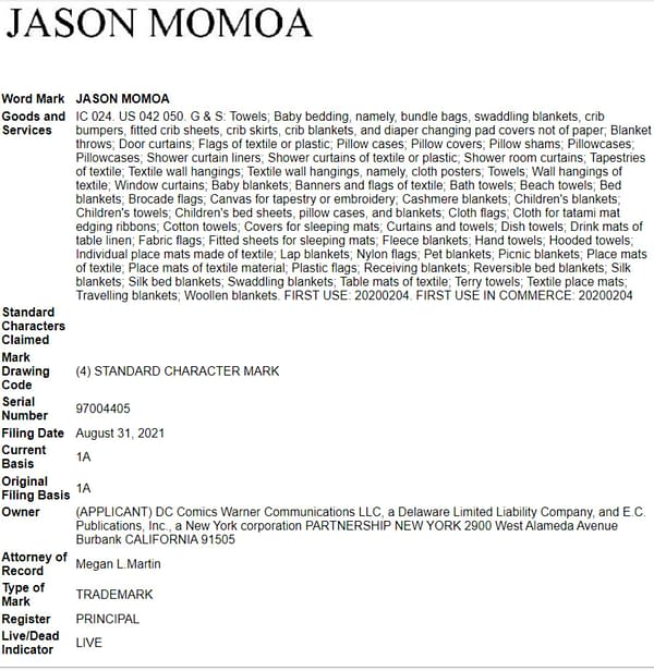 """DC Comics Trademarks """"Jason Momoa"""" For Towels & Diaper Changing Pads"""