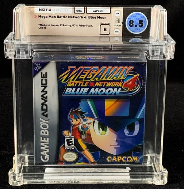 The front face of the WATA VF+, 8.5-graded copy of Mega Man Battle Network 4: Blue Moon, up for auction at Comics Connect's website right now!