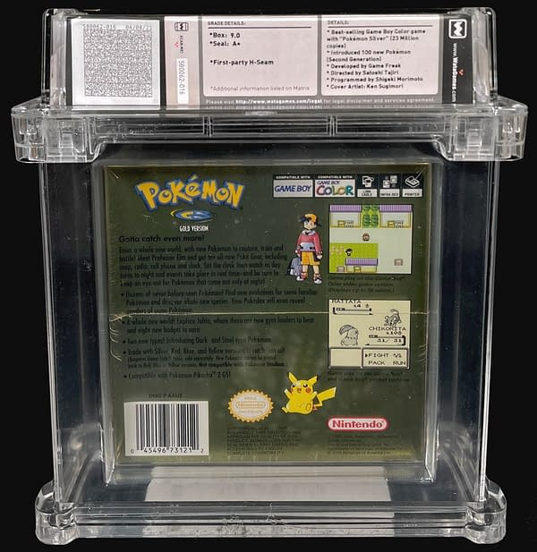 The back of the box for the 9.0-graded, sealed copy of Pokémon Gold Version, currently available as part of Comic Connect's latest auction series.
