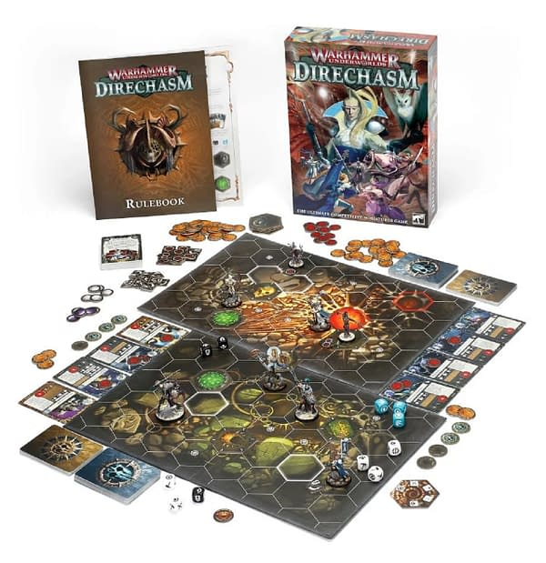 An array of the game components within Warhammer Underworlds: Direchasm.
