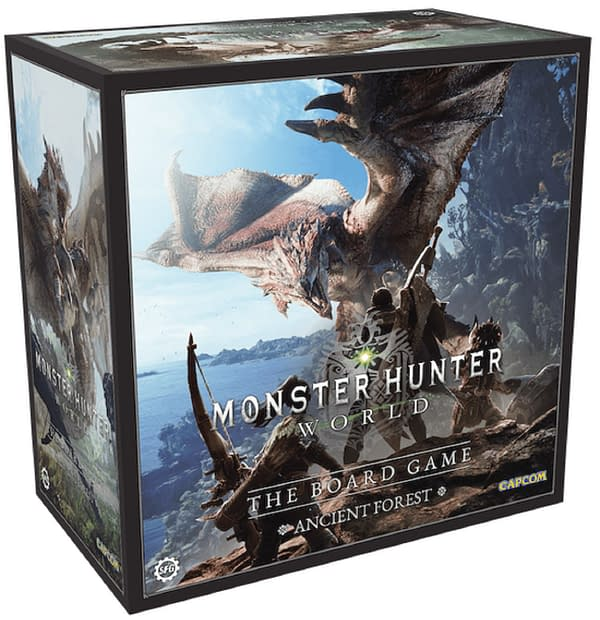 The box for Monster Hunter World: The Board Game's Ancient Forest, by Steamforged Games. The game will be up for crowdfunding on Kickstarter tomorrow.