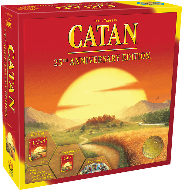 A look at the box for CATAN 25th Anniversary Edition, courtesy of Asmodee.