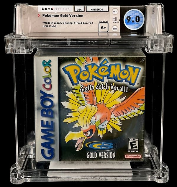 The front cover of the 9.0-graded, sealed copy of Pokémon Gold Version, currently available as part of Comic Connect's latest auction series.