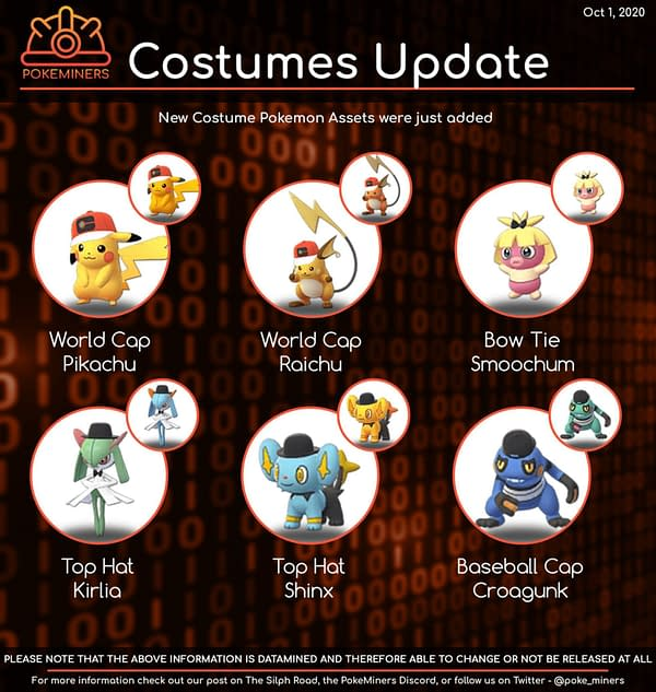 Graphic featuring the newly added costumed Pokémon. Credit: PokeMiners