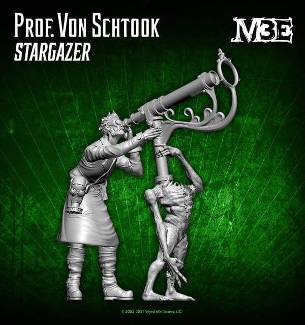 The 3-D render of the eventual model for Prof. Von Schtook, Stargazer, an alternate title for Von Schtook within the third edition of Malifaux, a wargame by Wyrd Games.