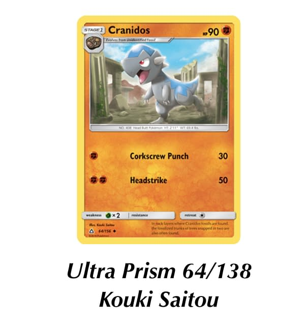 Ultra Prism Cranidos. Credit: Pokémon TCG