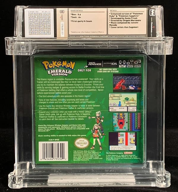 The rear face of the box for the 9.6-graded, WATA A+ copy of Pokémon Emerald, up for auction at Comics Connect.