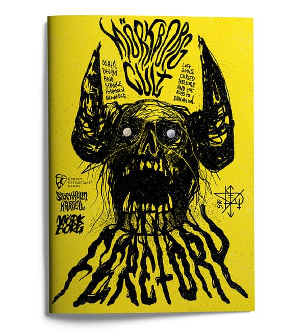 The front cover of MÖRK BORG CULT: Feretory, a new expansion in the MÖRK BORG CULT line of RPG books by Free League Publishing.