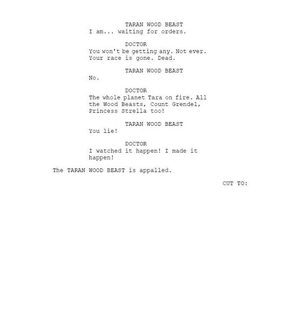 Robert Shearman's third page of script extracts from Doctor Who, courtesy of BBC.