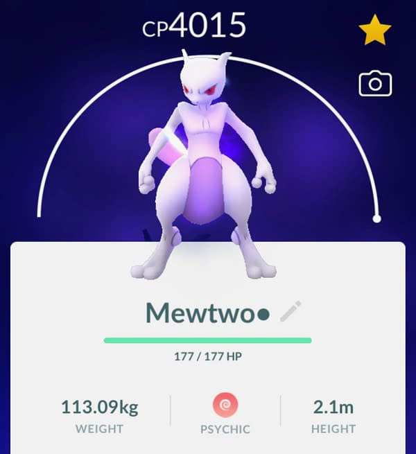 Shadow Mewtwo in Pokémon GO. Credit: Niantic