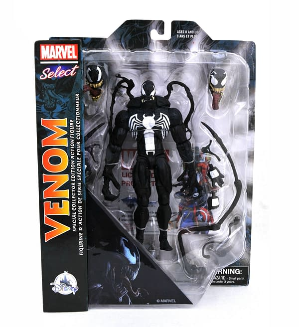 Venom has been unleashed for action-packed playtime adventures with this Marvel Select action figure inspired by the symbiotic nightmare from the Marvel Universe. Figure includes interchangeable hands, interchangeable heads and multiple accessories. Safety WARNING: CHOKING HAZARD - Small Parts. Not for children under 3 years. Magic in the details Poseable with 16 points of articulation Includes two additional sets of interchangeable open hands and closed fists Also includes two addtional interchangeable heads and multiple accessories Free standing Collect all our Marvel Select action figures, each sold separately Inspired by Venom The bare necessities Plastic 7 3/4'' H Imported