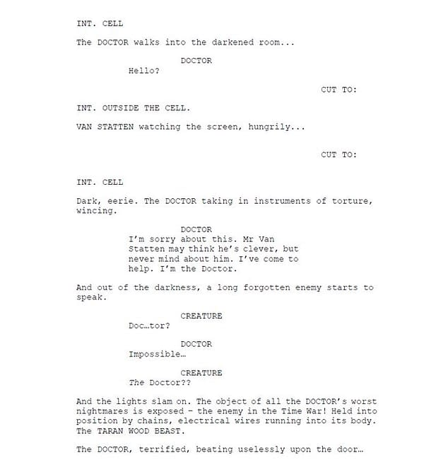 Robert Shearman's first page of script extracts from Doctor Who, courtesy of BBC.
