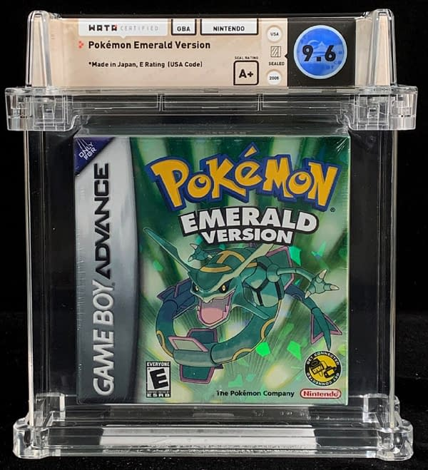 A rare, highly-graded WATA A+ copy of Pokémon Emerald, up for auction at Comics Connect right now!